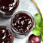 Three jars filled with homemade jam
