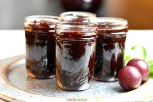 Four Jars filled with homemade plum jam