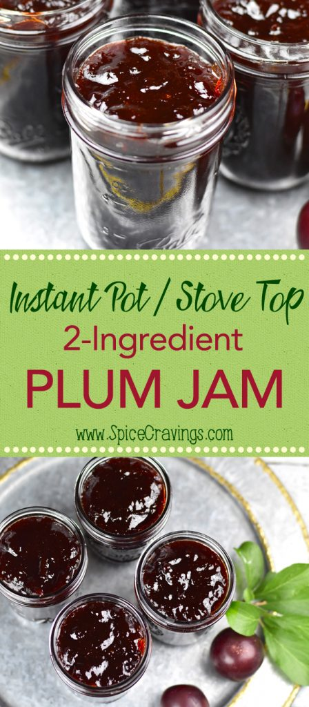Jars with homemade plum jam