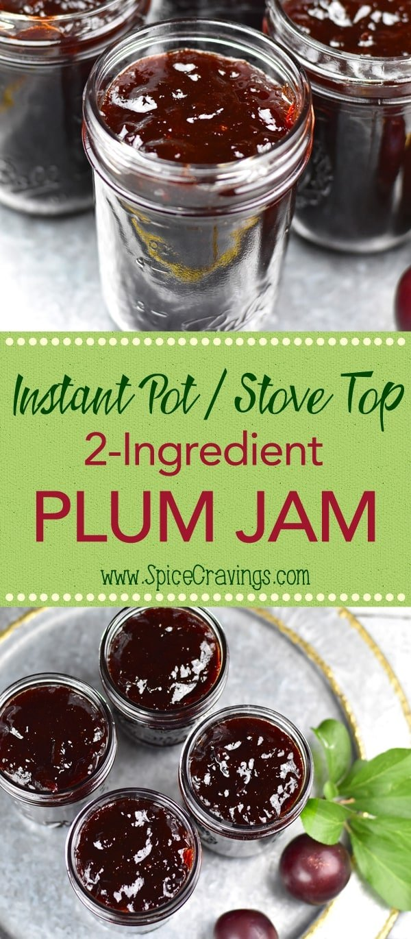 This recipe for 2-ingredient Plum Jam is like summer in a jar!  Sweet & tart plums cooked with sugar, and reduced to a thick, spreadable consistency! Yum! #food #foodie #foodblogger #delicious #recipe #instantpot #recipes #easyrecipe #cuisine #30minutemeal #instagood #foodphotography #tasty #jam #plums #preserves #condiments