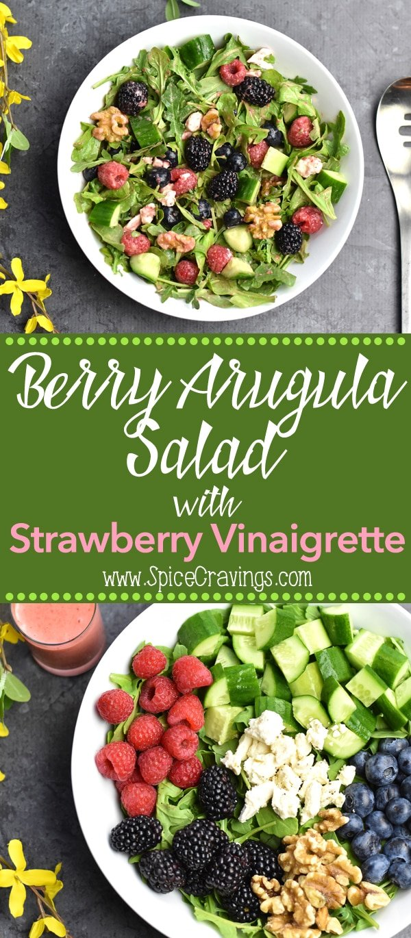 This fresh and flavorful Berry Arugula Salad with Strawberry Vinaigrette is a must-have this summer.  Sweet berries tossed with crisp cucumber, crunchy walnuts and salty feta cheese, and dressed with Fresh Strawberry Vinaigrette! #food #foodie #foodblogger #delicious #recipe #instantpot  #recipes #easyrecipe  #cuisine  #30minutemeal  #instagood #foodphotography #tasty #wprecipemaker #salad #lowcarb #glutenfree #vegetarian #vinaigrette #15minutemeals #summerrecipes