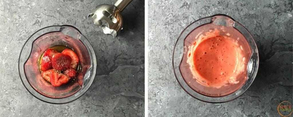Strawberries and seasoning in a blender jar