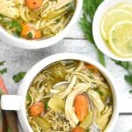 Two bowls of Gluten free Chicken Noodle Soup