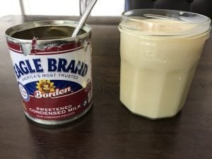 Transfer the condensed milk in a mason jar