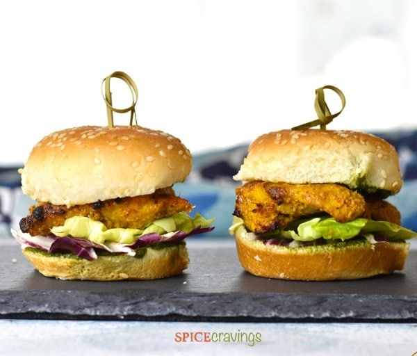 Grilled Tandoori Chicken Slider on a tray