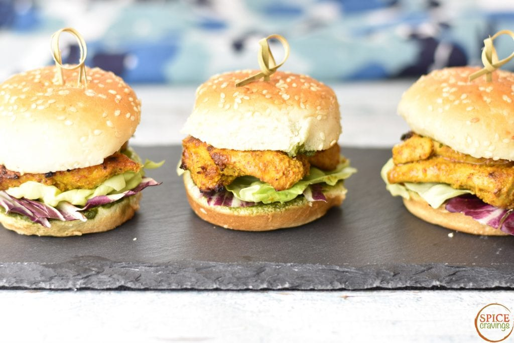 Tandoori Chicken Slider with cilantro chutney dressing