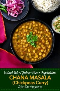 Instant Pot chana Masala image for pinning on pinterest