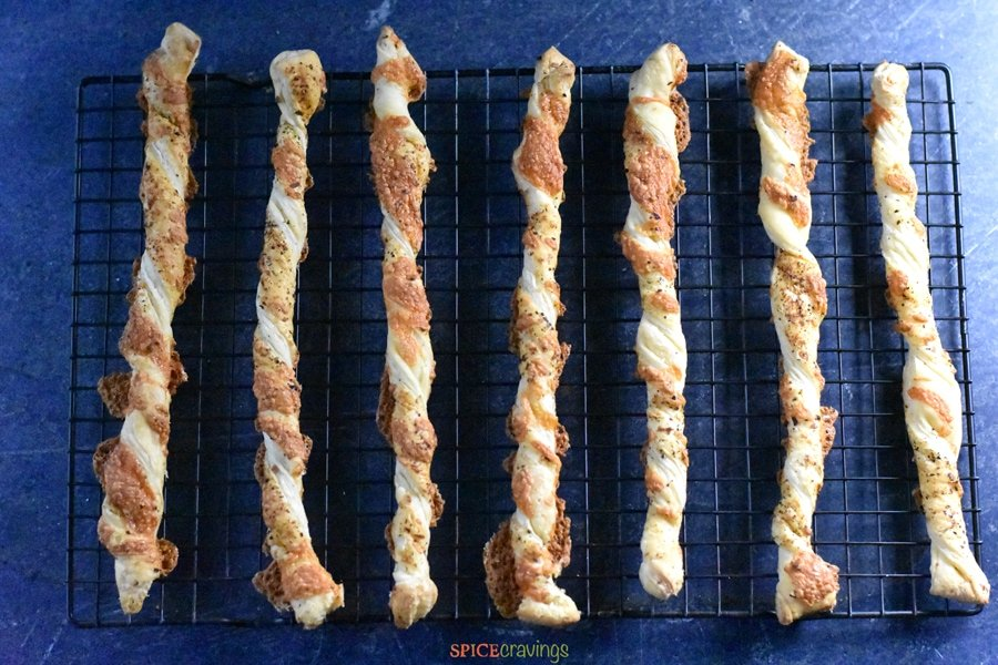 Cheese Straws out of the oven