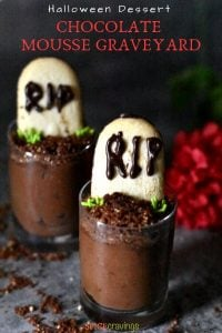 Chocolate mousse decorated to look like graveyards