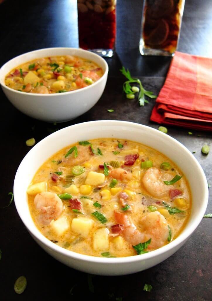 Bowl of creamy instant pot chipotle shrimp soup
