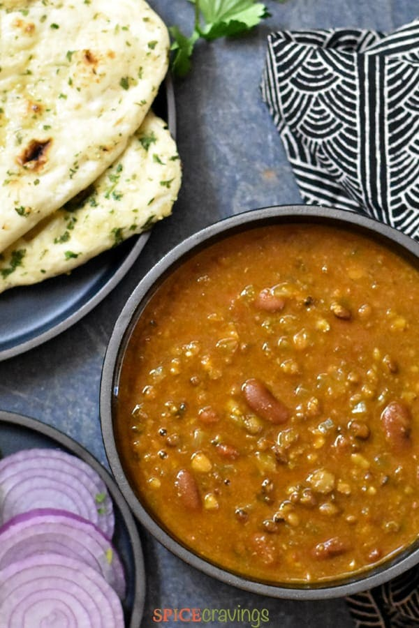 Easy Dal makhani served with naan