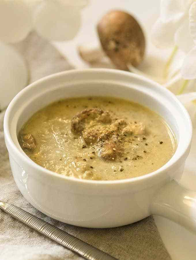 A bowl of cream of mushroom soup made in Instant Pot