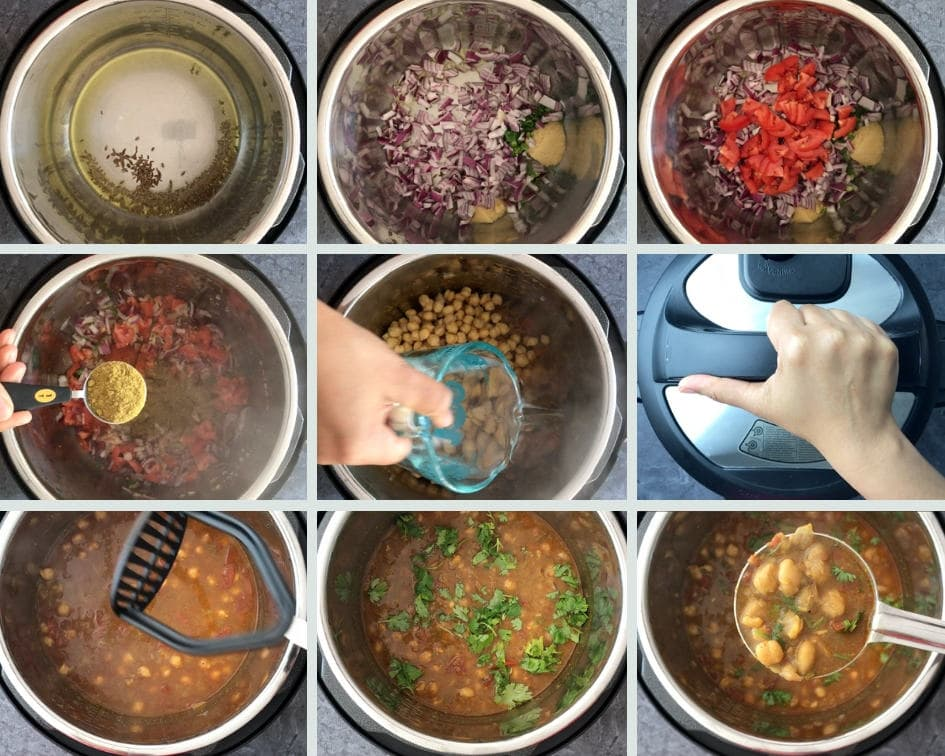 step by step guide on how to make chana masala in instant pot