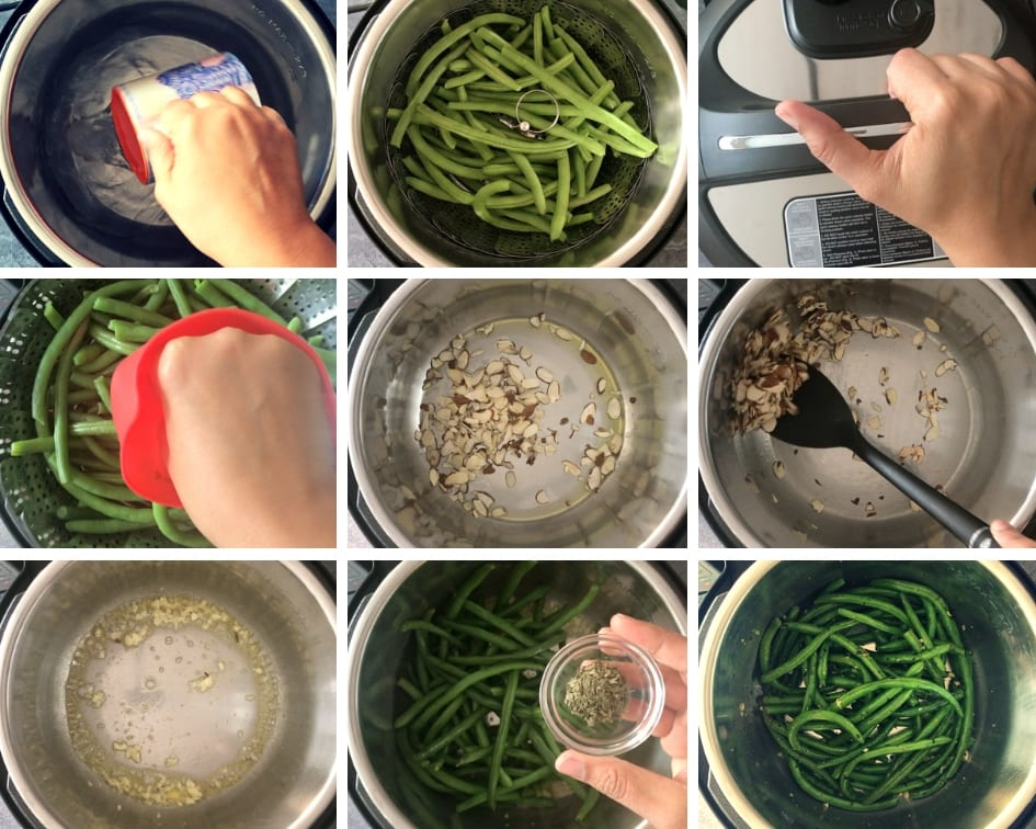 Process showing how to make Instant Pot Green Beans Almondine