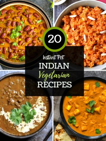 grid of 4 photos with indian lentils and curries