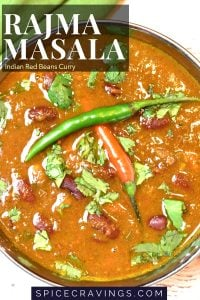 Indian spiced red beans curry called Rajma Masala is made in Instant Pot and served in a copper bowl