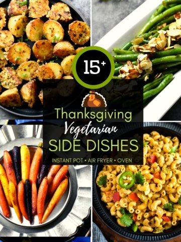 4-grid photo collection of thanksgiving vegetarian side dishes