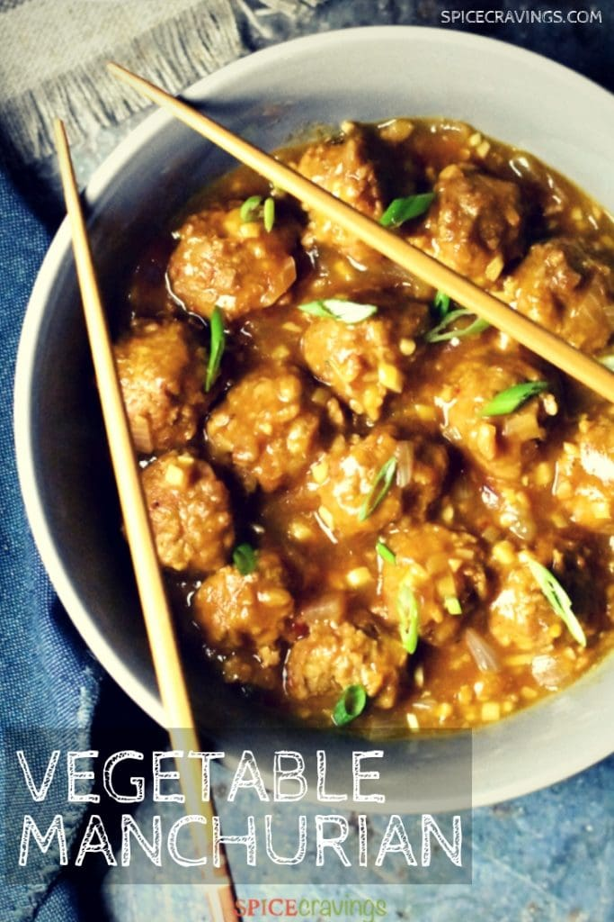 Instant Pot Vegetable Manchurian served in a gray bowl