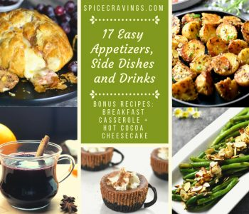 A collection of 17 Best & Easy Appetizers, sides, drinks recipes for holidays dinners and office parties