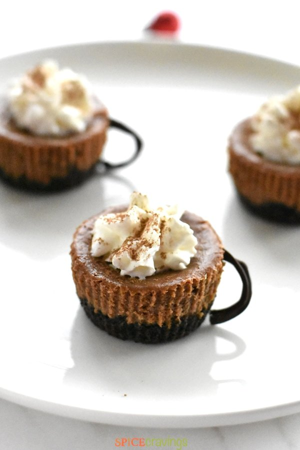 A chocolate cheesecake cup with edible chocolate handle, topped with whipped cream and dusted with cocoa powder