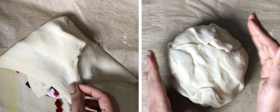 Wrap the brie cheese and jam with the puff pastry before baking the baked brie