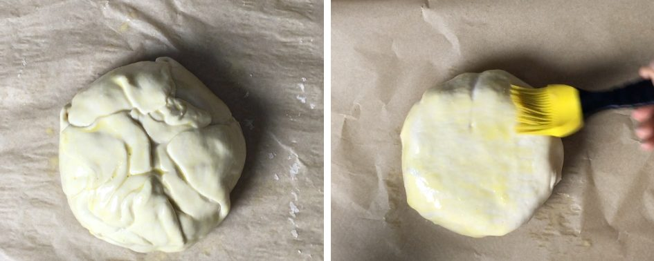 Brush Egg wash on the wrapped brie and prepare to bake the Baked Brie in Puff Pastry