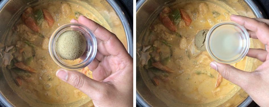 After pressure cooking add sugar and lime juice to boost the flavors of this Thai red Curry made in Instant Pot