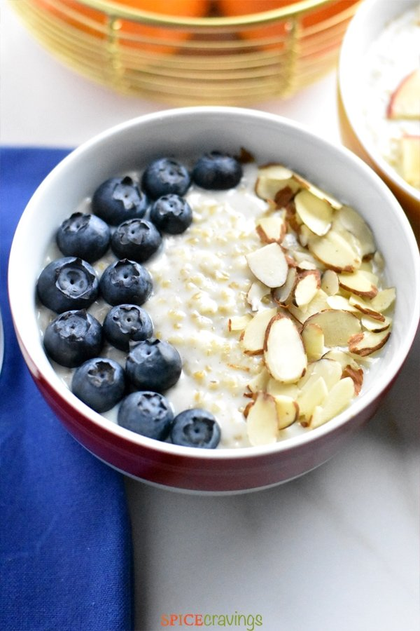 Steel cut oats cooked in Instant Pot and topped with blueberries and almonds