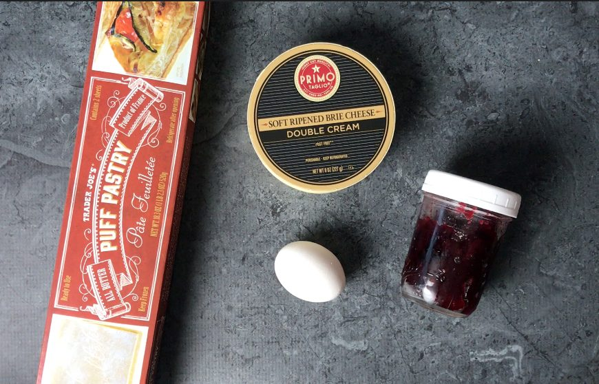 The 4 ingredients needed for Baked brie: Puff Pastry, Brie Cheese, Egg, Jam
