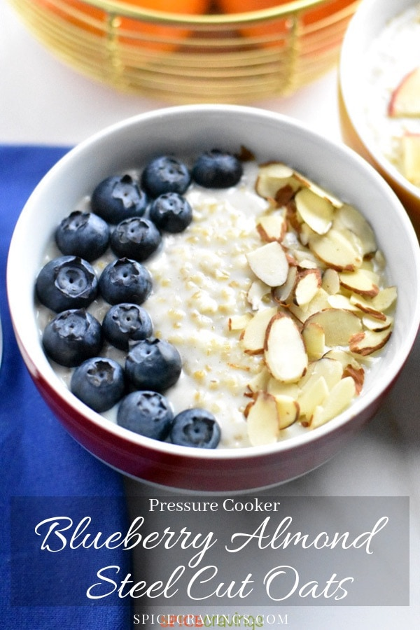 Blueberry and almond oatmeal in a bowl