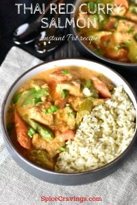 Salmon cooked in coconut milk with red curry paste and served with brown jasmine rice