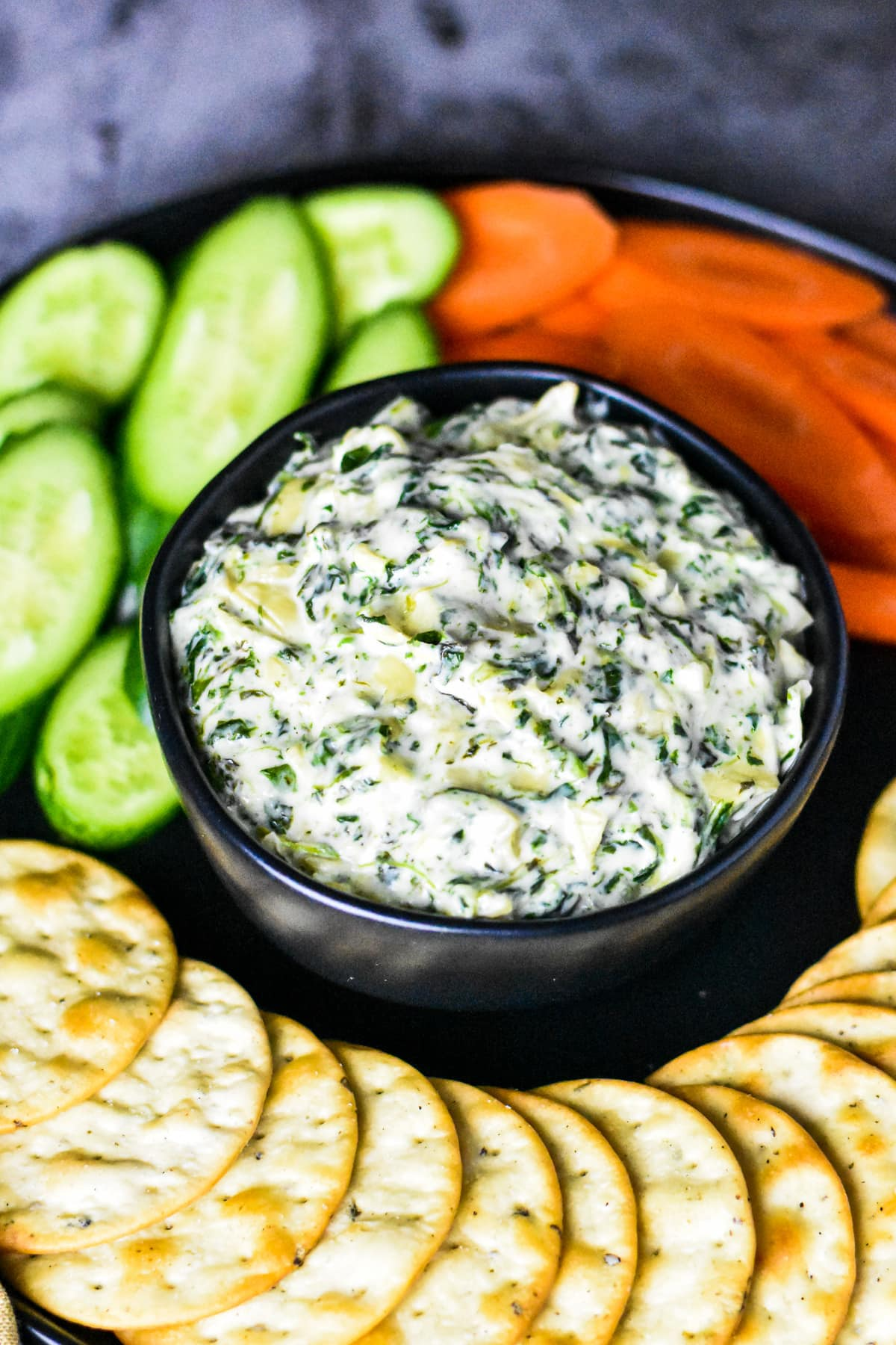 Creamy spinach artichoke dip made in the Instant pot