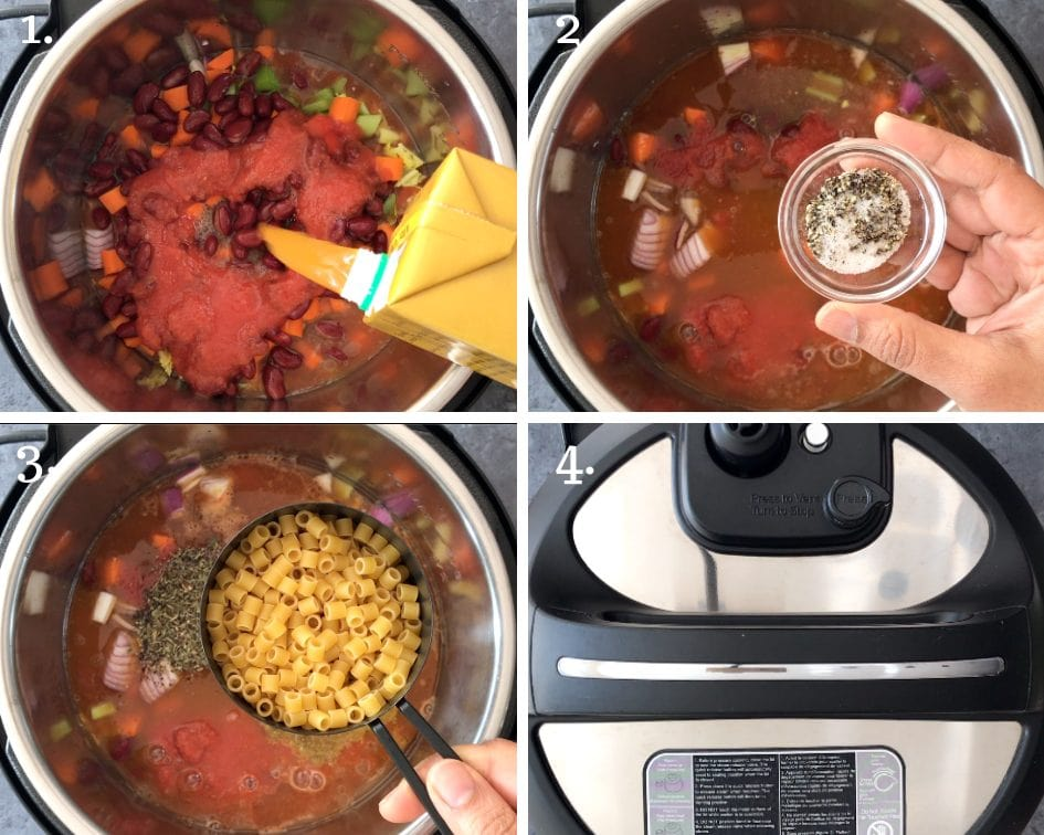 Detailed step by step pictures showing how to make Pasta fagioli in an instant pot pressure cooker