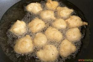 Deep frying vada in hot oil