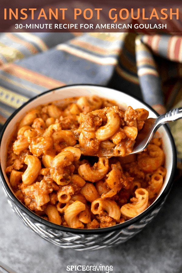 A bowl of delicious Goulash made with ground meat and elbow macaroni