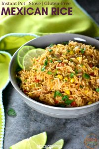Mexican flavored rice with corn, peppers and cilantro