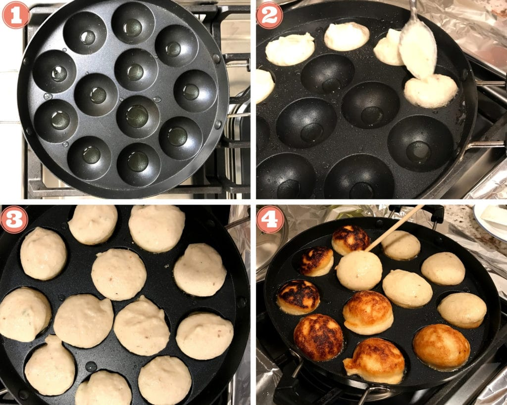 4 step grid showing heating oil in vada pan, pouring batter and flipping vada