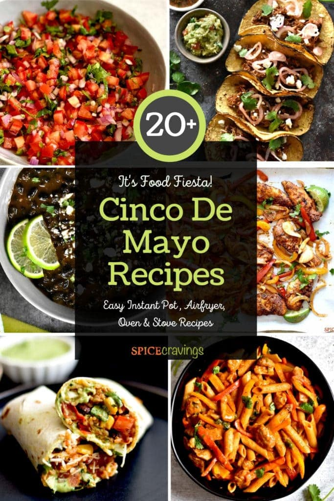 An image grid with six Mexican flavored recipes including salsa, tacos, burrito and beans