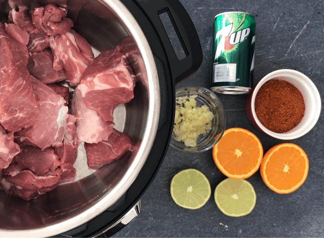 Ingredients for making Carnitas in Instant Pot
