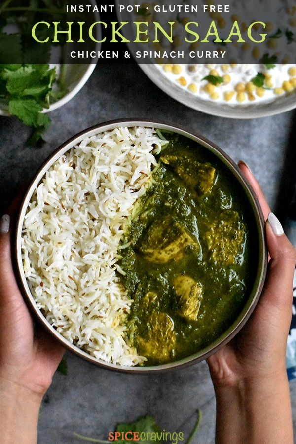 A bowl of Chicken Saag served with cumin rice