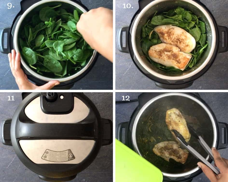 Step by step instructions on how to make Chicken Saag in an Instant Pot