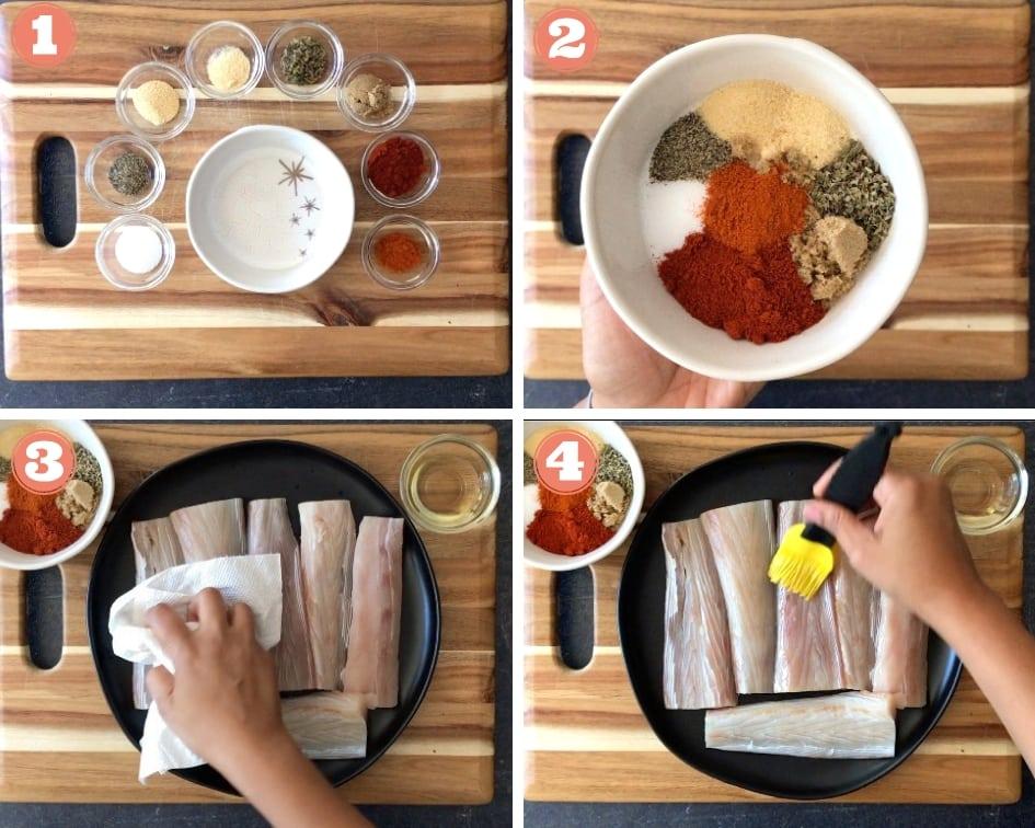 Making a cajun spice rub and seasoning Mahi Mahi fish filets