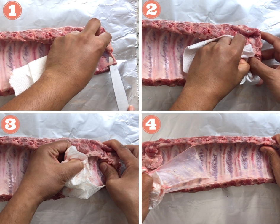 Step by step instructions on how remove membrane from Pork Ribs