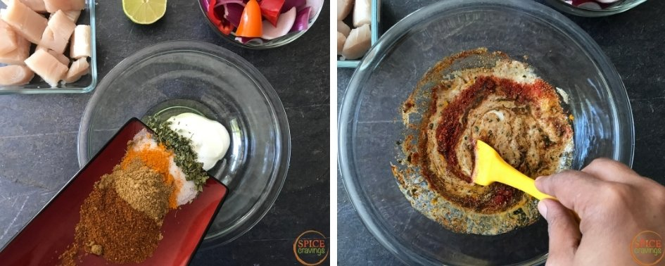 Adding spices to yogurt for Tandoori marinade