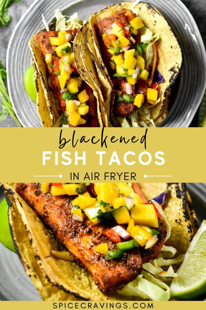 Grilled fish in corn tacos topped with mango salsa