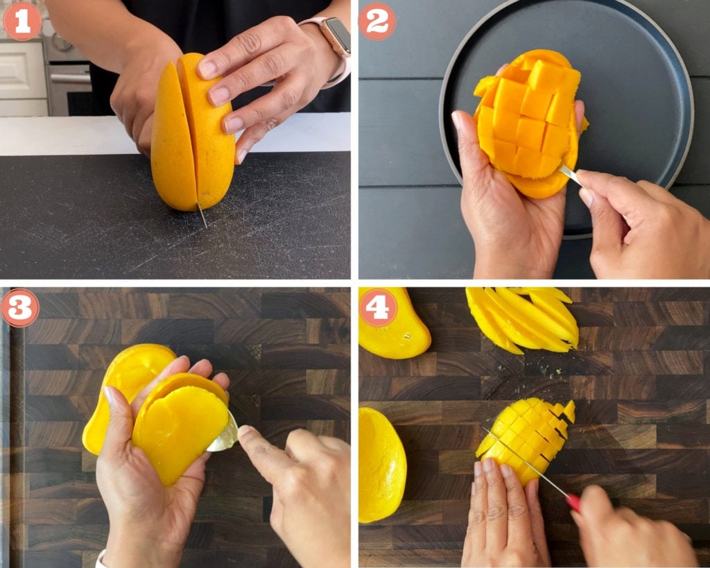 Cutting mango and chopping on cutting board
