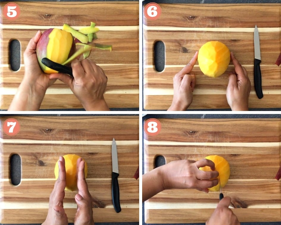 Step by step instructions showing how to Cut Mango