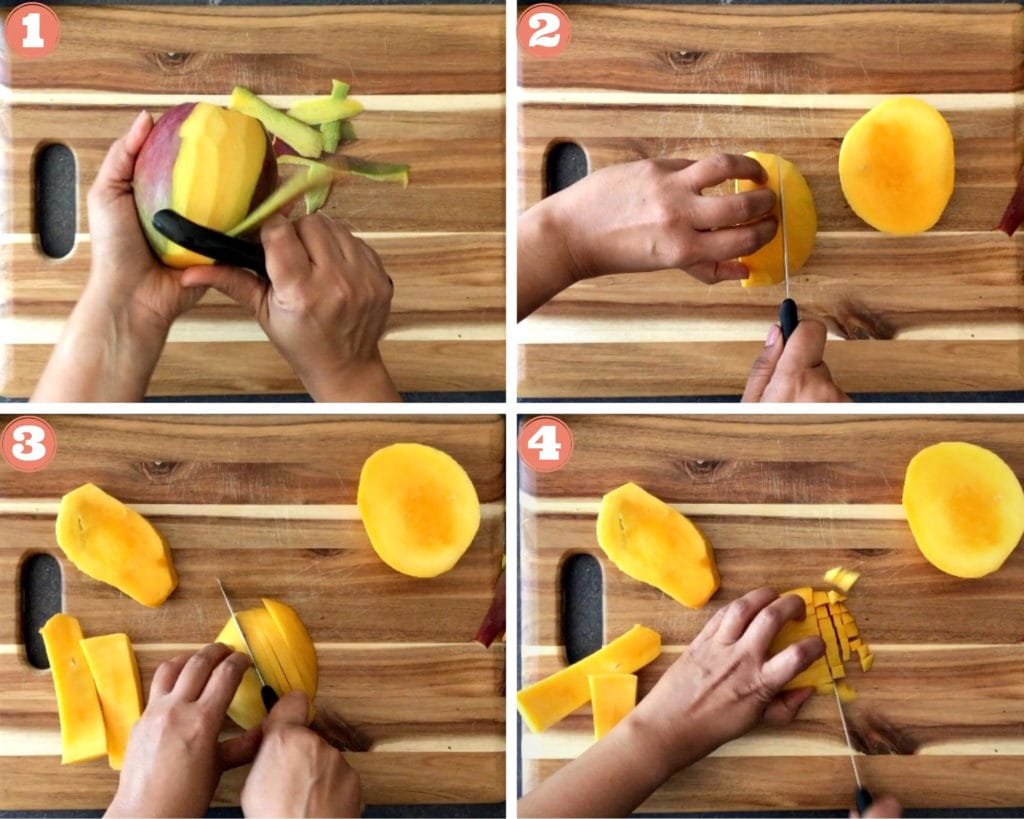 Peeling and chopping mango on cutting board