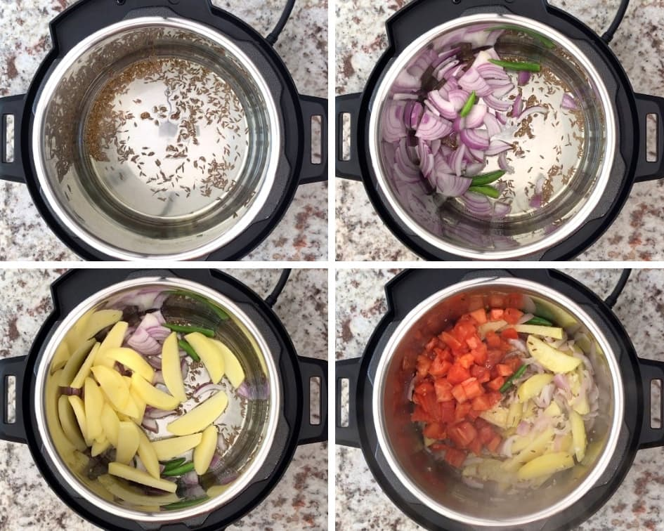 sauteing cumin seeds, onion and potato in instant pot