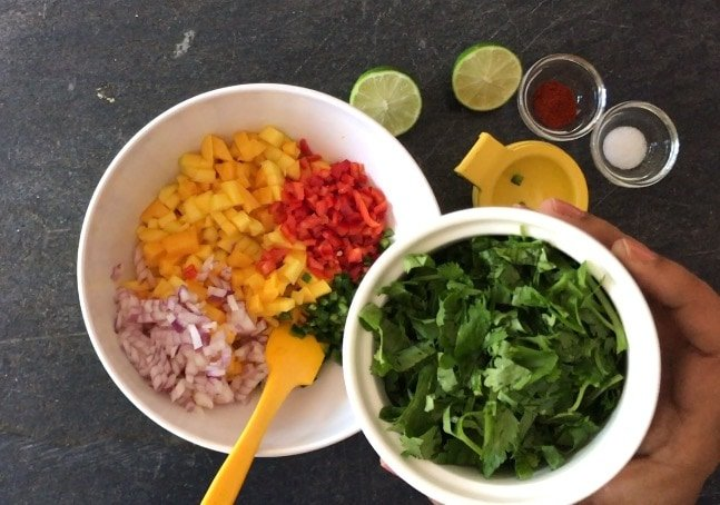 Adding chopped cilantro  to mango, onion and red pepper